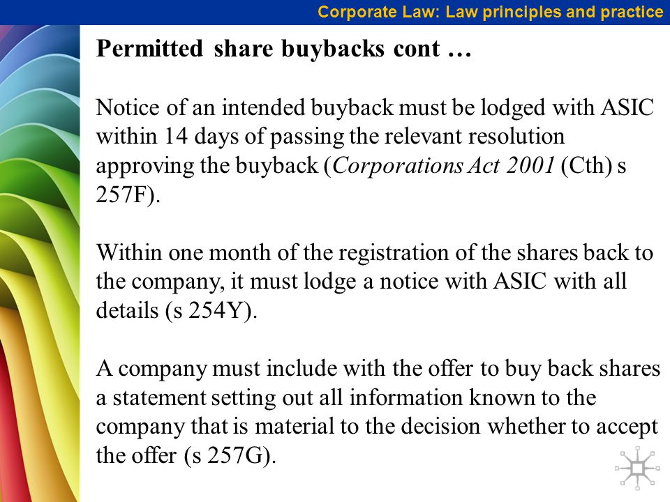 Permitted share buybacks cont …