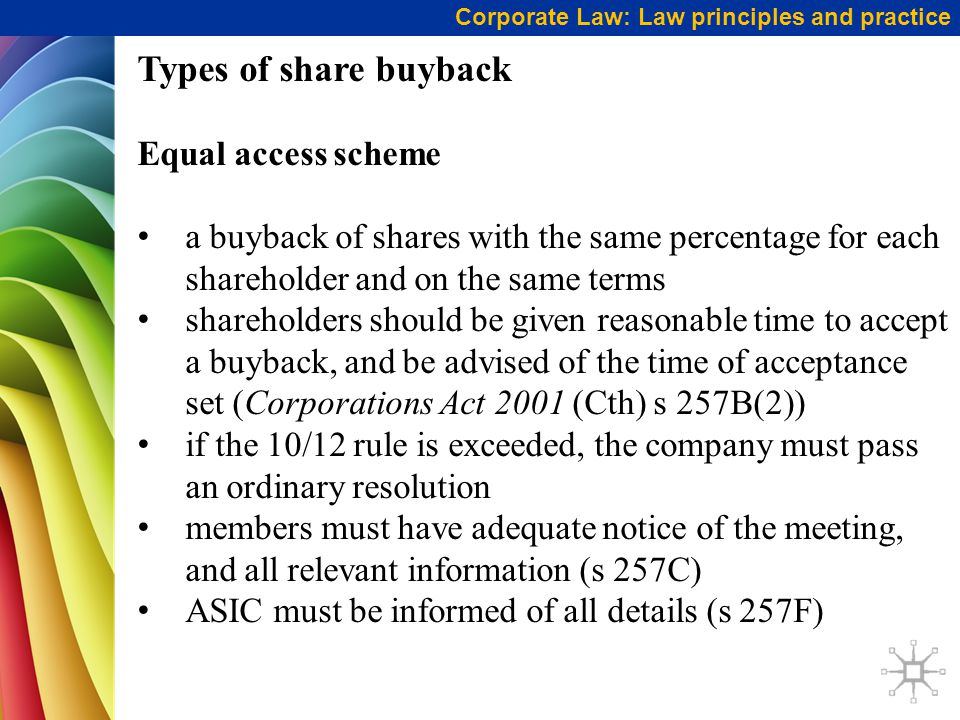Types of share buyback Equal access scheme