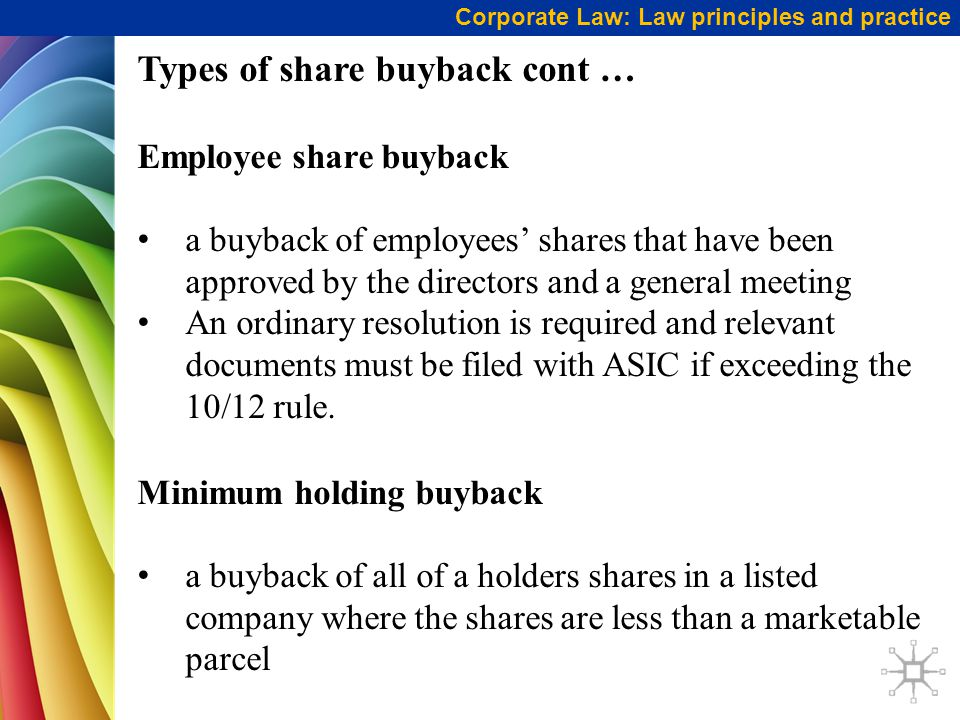 Types of share buyback cont …