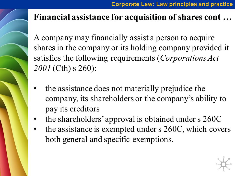 Financial assistance for acquisition of shares cont …
