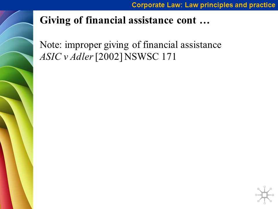 Giving of financial assistance cont …