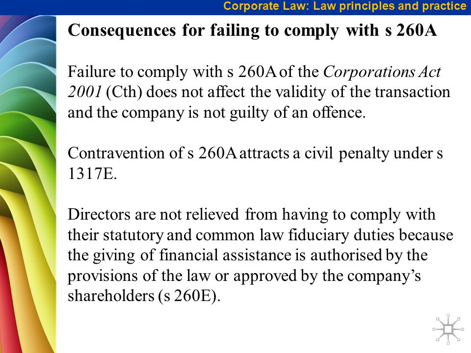 Consequences for failing to comply with s 260A