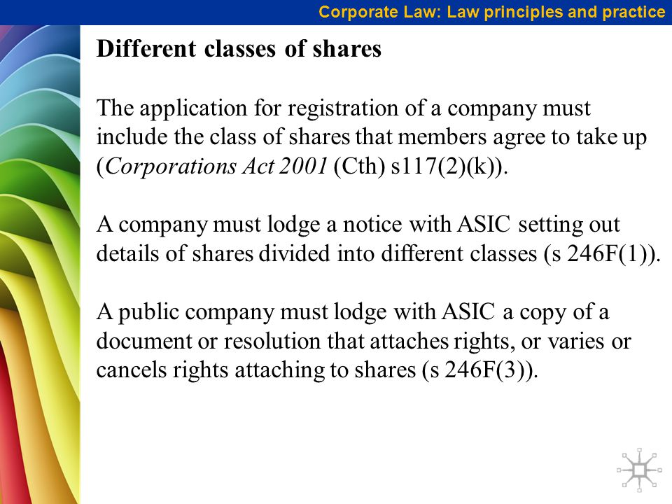 Different classes of shares