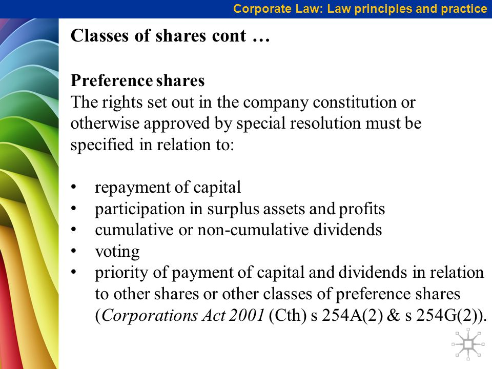 Classes of shares cont …