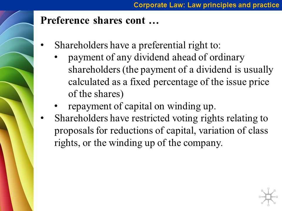 Preference shares cont …