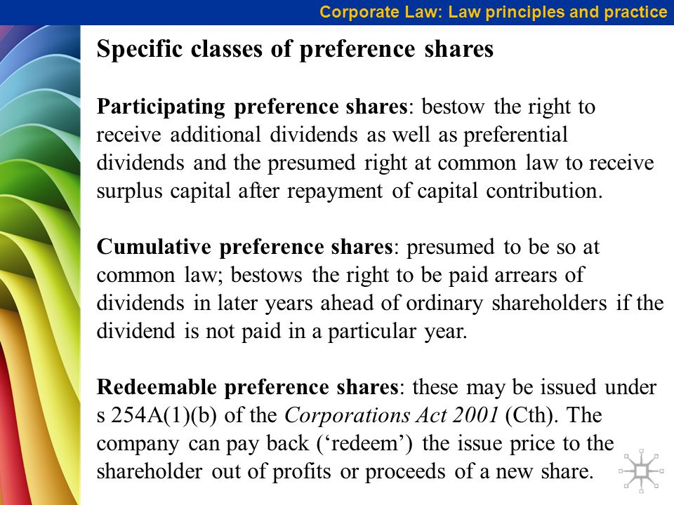 Specific classes of preference shares