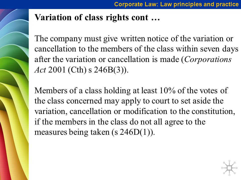 Variation of class rights cont …