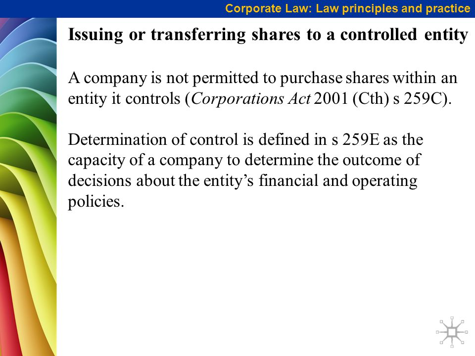 Issuing or transferring shares to a controlled entity