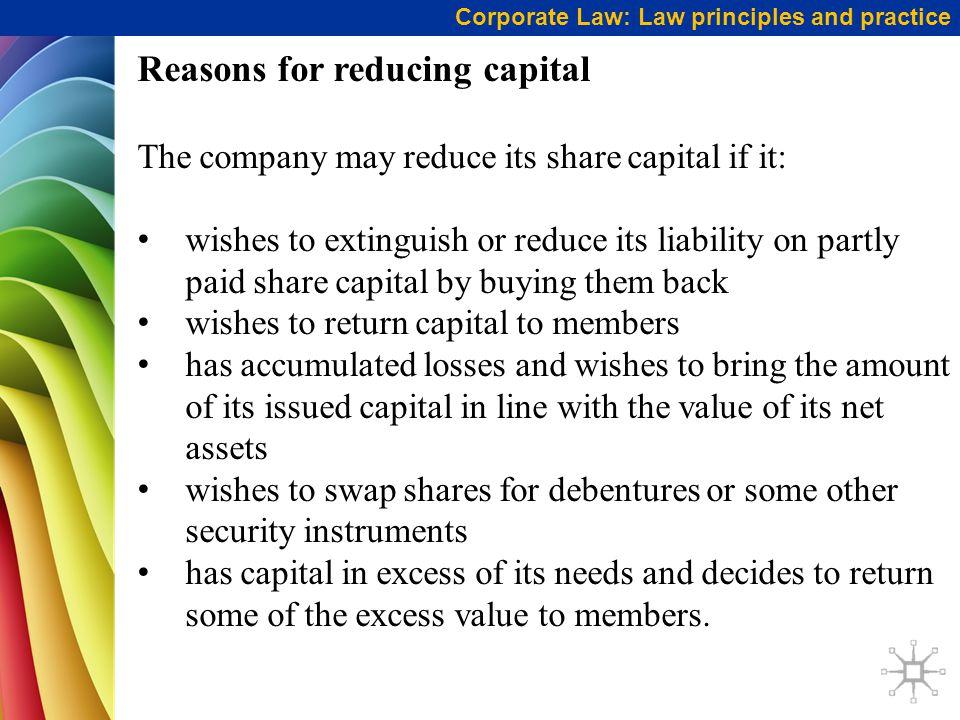 Reasons for reducing capital