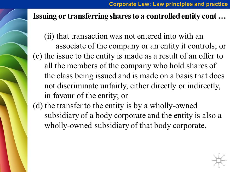 Issuing or transferring shares to a controlled entity cont …