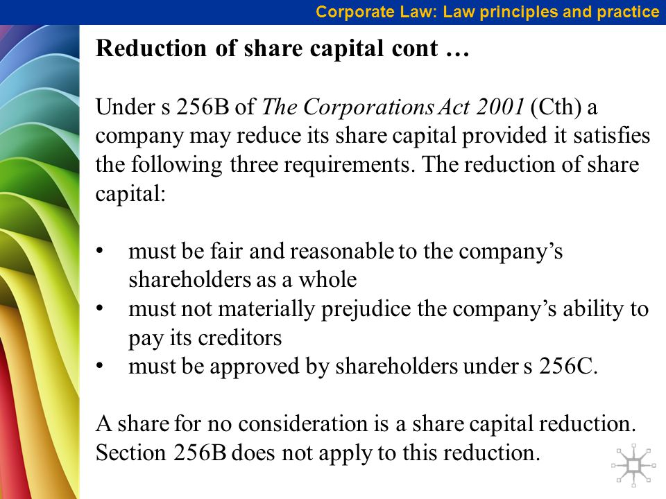 Reduction of share capital cont …