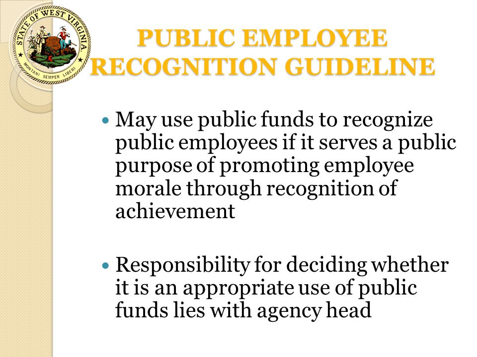 PUBLIC EMPLOYEE RECOGNITION GUIDELINE