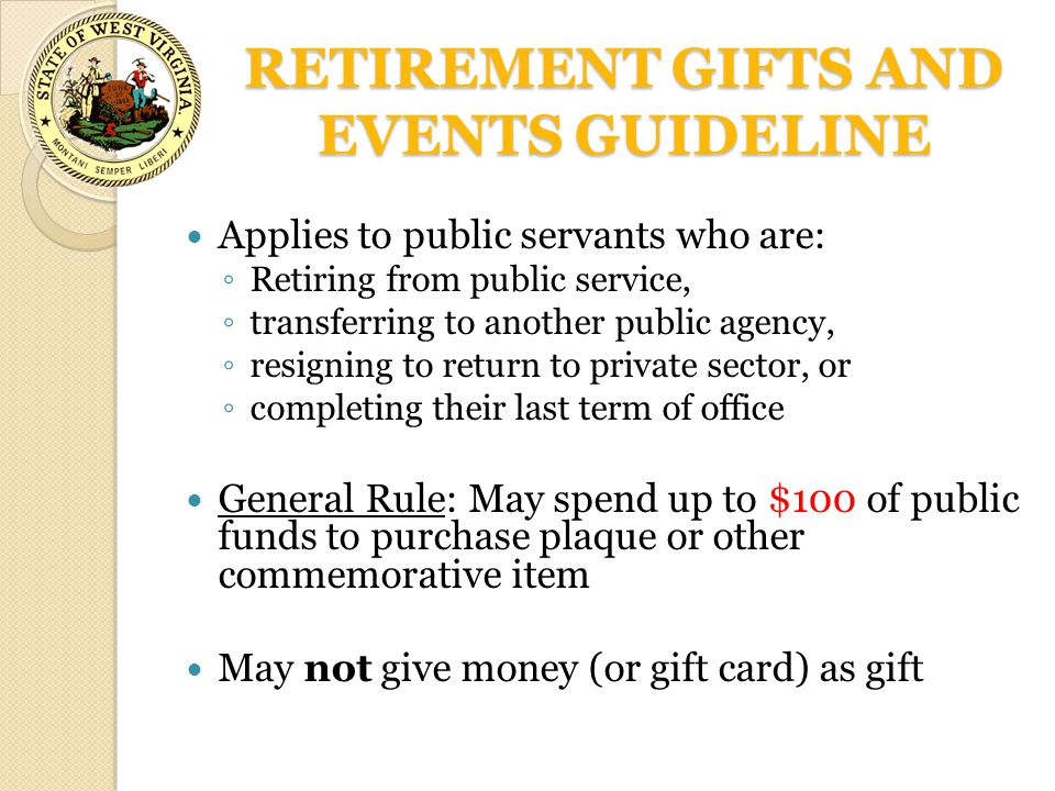 RETIREMENT GIFTS AND EVENTS GUIDELINE