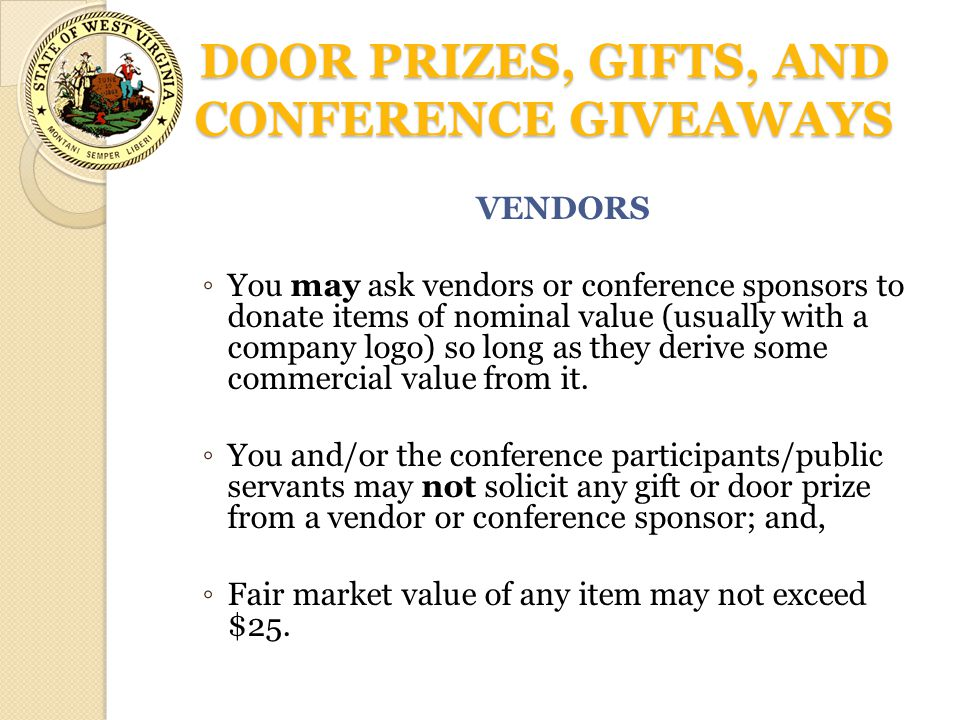 DOOR PRIZES, GIFTS, AND CONFERENCE GIVEAWAYS