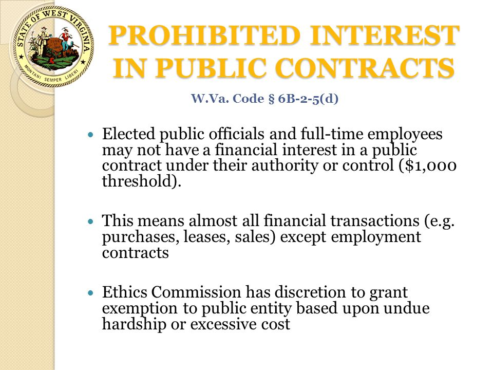 PROHIBITED INTEREST IN PUBLIC CONTRACTS