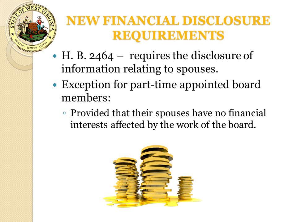 NEW FINANCIAL DISCLOSURE REQUIREMENTS