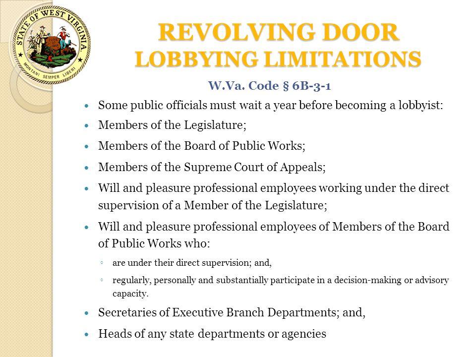 REVOLVING DOOR LOBBYING LIMITATIONS