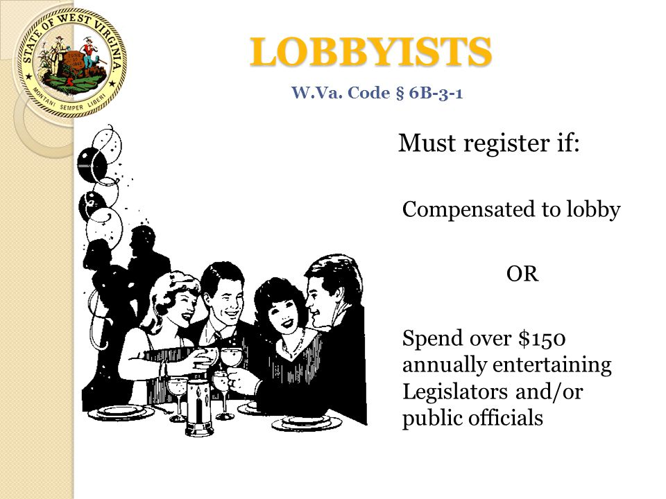 LOBBYISTS Must register if: Compensated to lobby OR