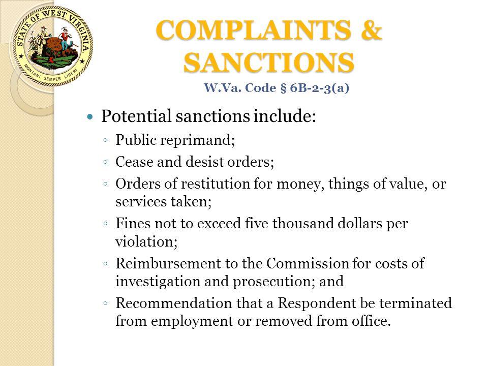 COMPLAINTS & SANCTIONS