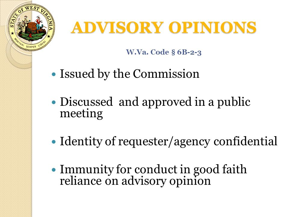 ADVISORY OPINIONS Issued by the Commission