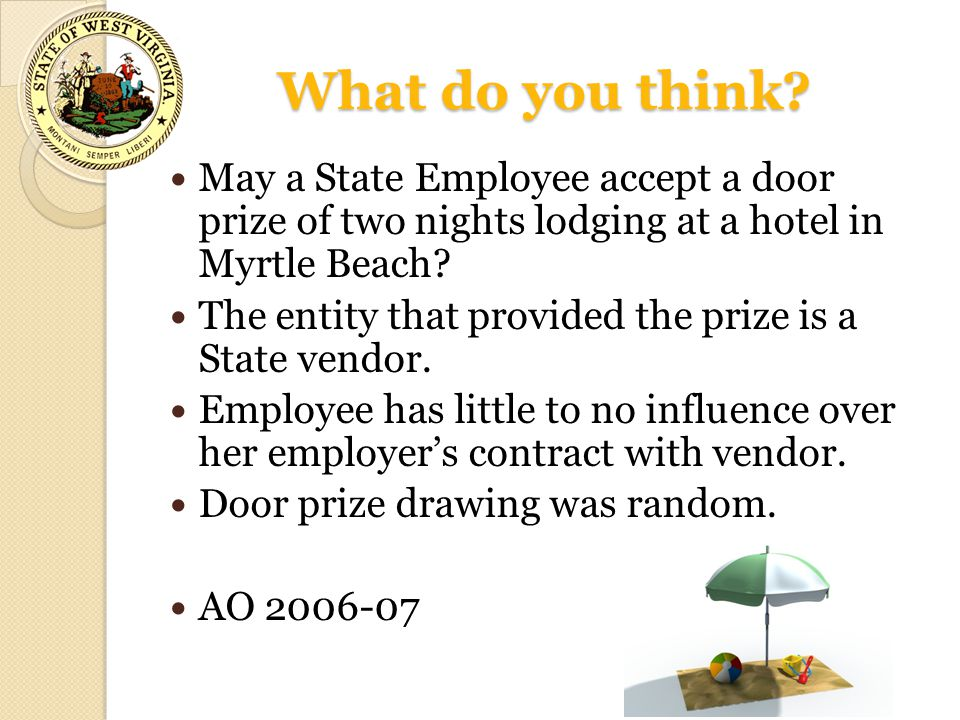 What do you think May a State Employee accept a door prize of two nights lodging at a hotel in Myrtle Beach