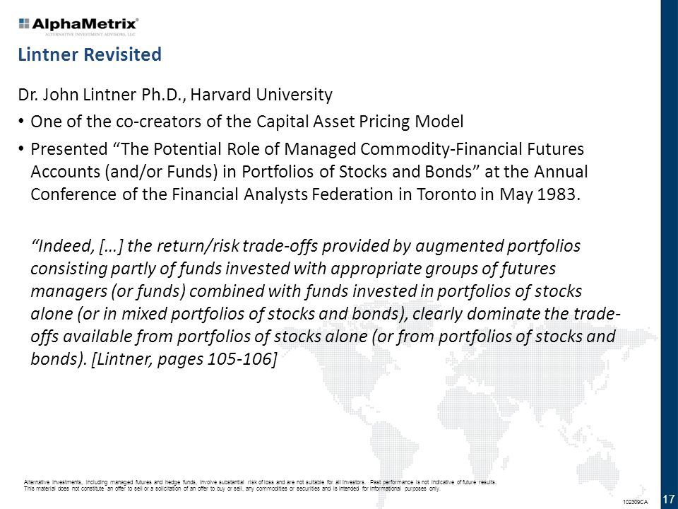 Lintner Revisited Dr. John Lintner Ph.D., Harvard University