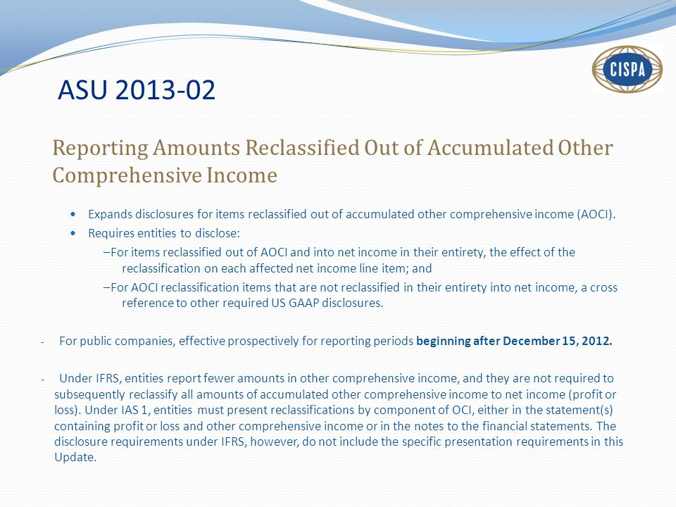 ASU 2013-02 Reporting Amounts Reclassified Out of Accumulated Other Comprehensive Income.
