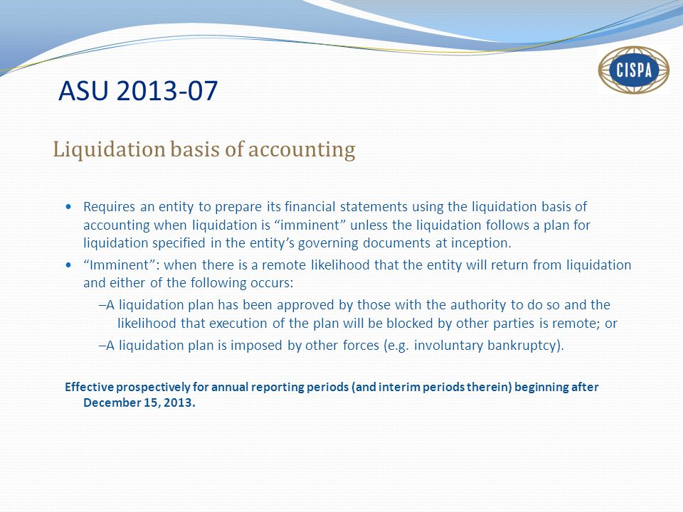 ASU 2013-07 Liquidation basis of accounting