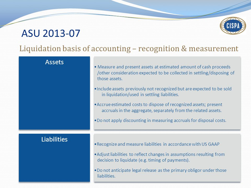 ASU 2013-07 Liquidation basis of accounting – recognition & measurement. Assets.