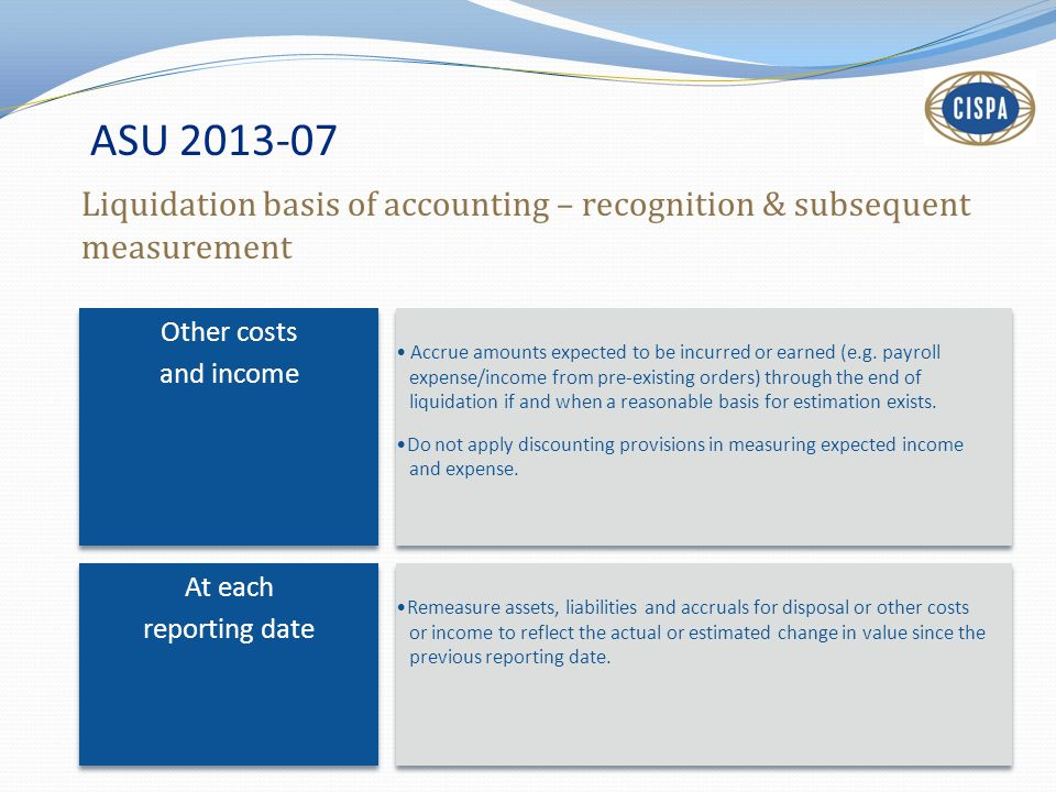 ASU 2013-07 Liquidation basis of accounting – recognition & subsequent measurement. Other costs. and income.