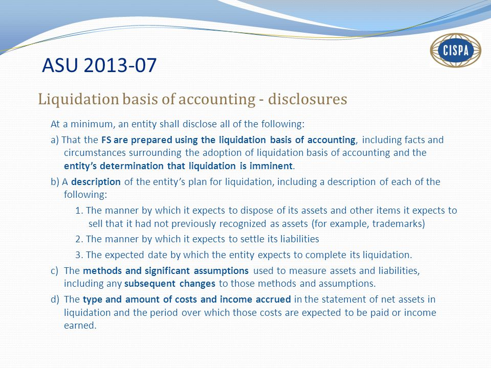 ASU 2013-07 Liquidation basis of accounting - disclosures