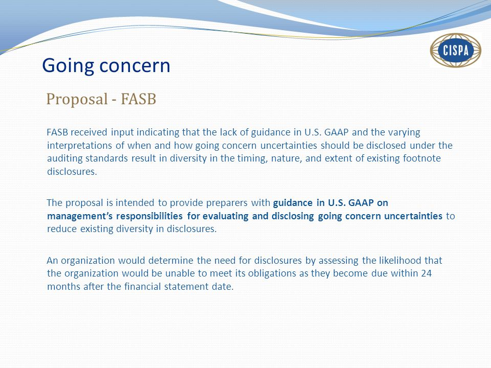 Going concern Proposal - FASB