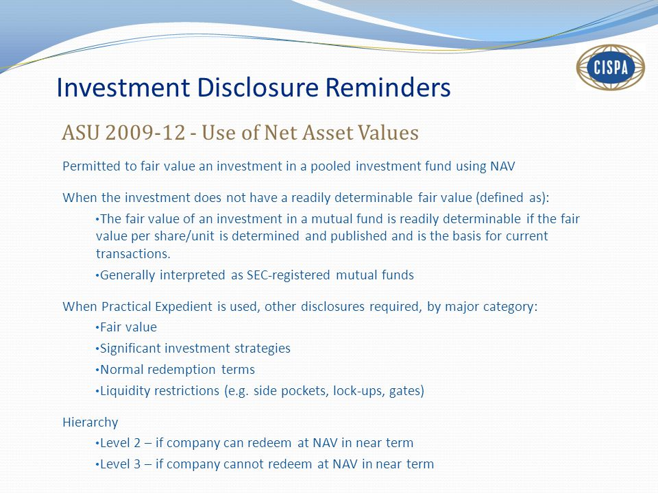 Investment Disclosure Reminders