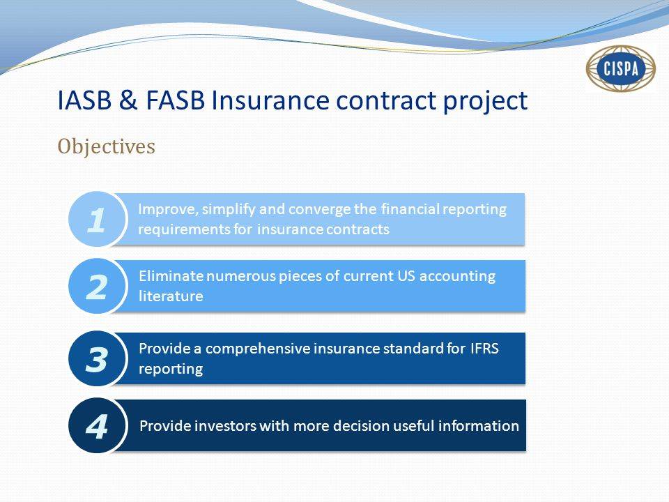 1 2 3 4 IASB & FASB Insurance contract project Objectives