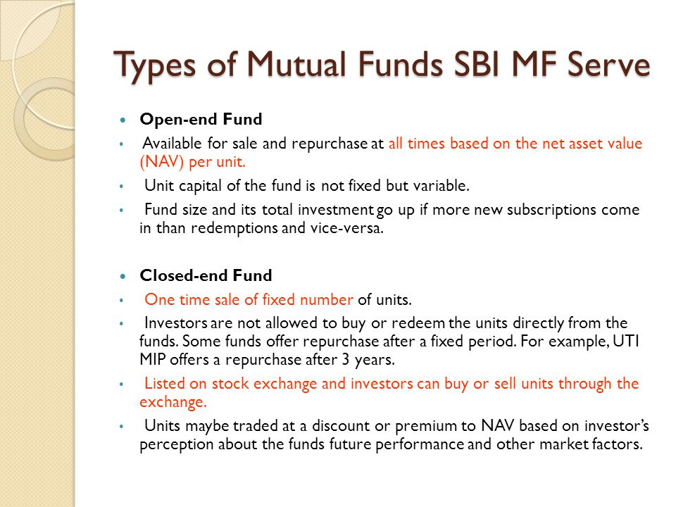 Types of Mutual Funds SBI MF Serve