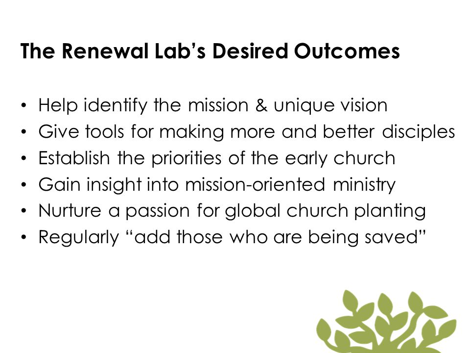 The Renewal Lab's Desired Outcomes