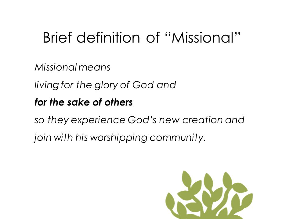 Brief definition of Missional