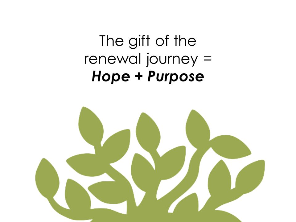 The gift of the renewal journey = Hope + Purpose