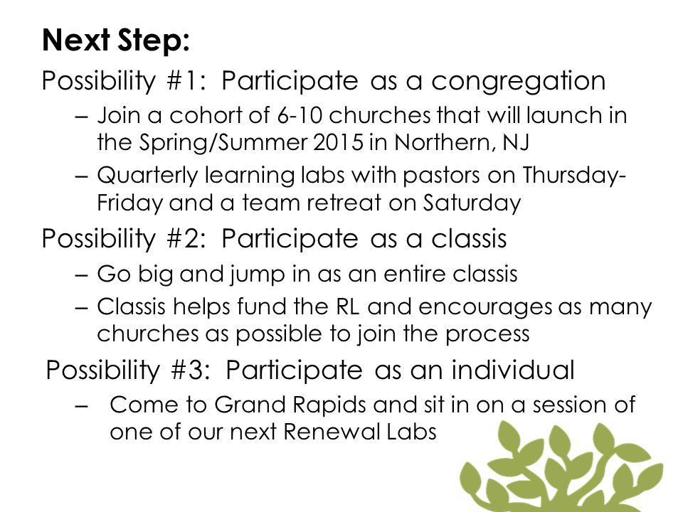 Next Step: Possibility #1: Participate as a congregation