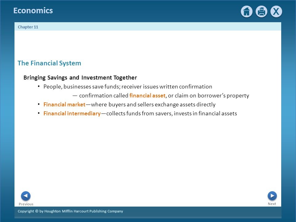 The Financial System Bringing Savings and Investment Together
