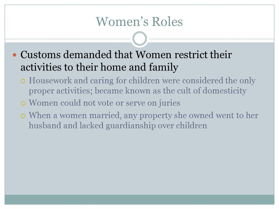 Women's Roles Customs demanded that Women restrict their activities to their home and family.