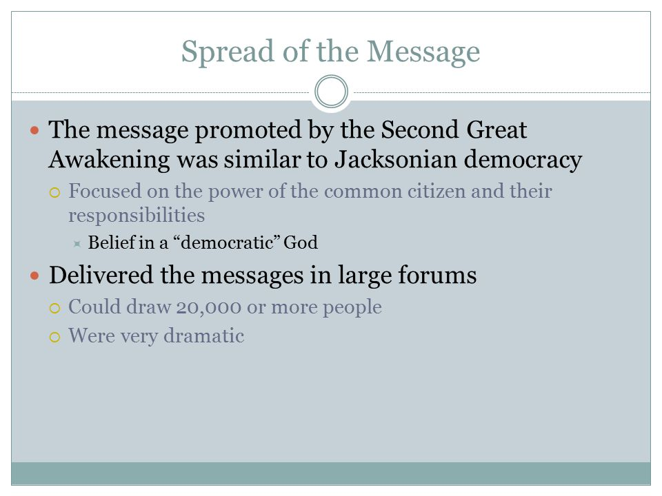 Spread of the Message The message promoted by the Second Great Awakening was similar to Jacksonian democracy.