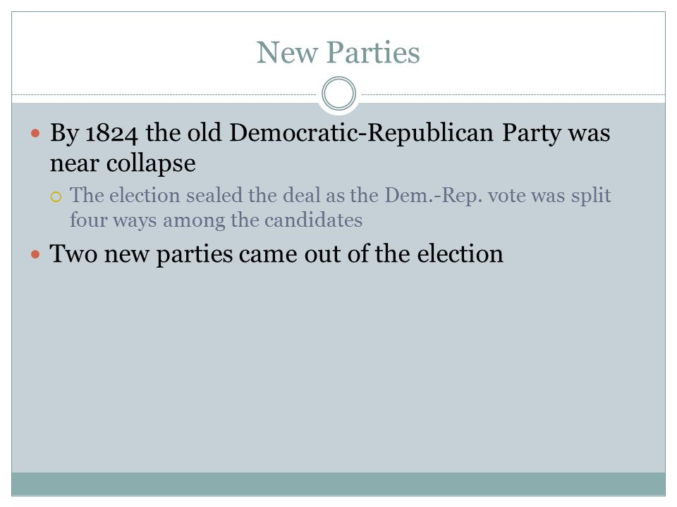 New Parties By 1824 the old Democratic-Republican Party was near collapse.