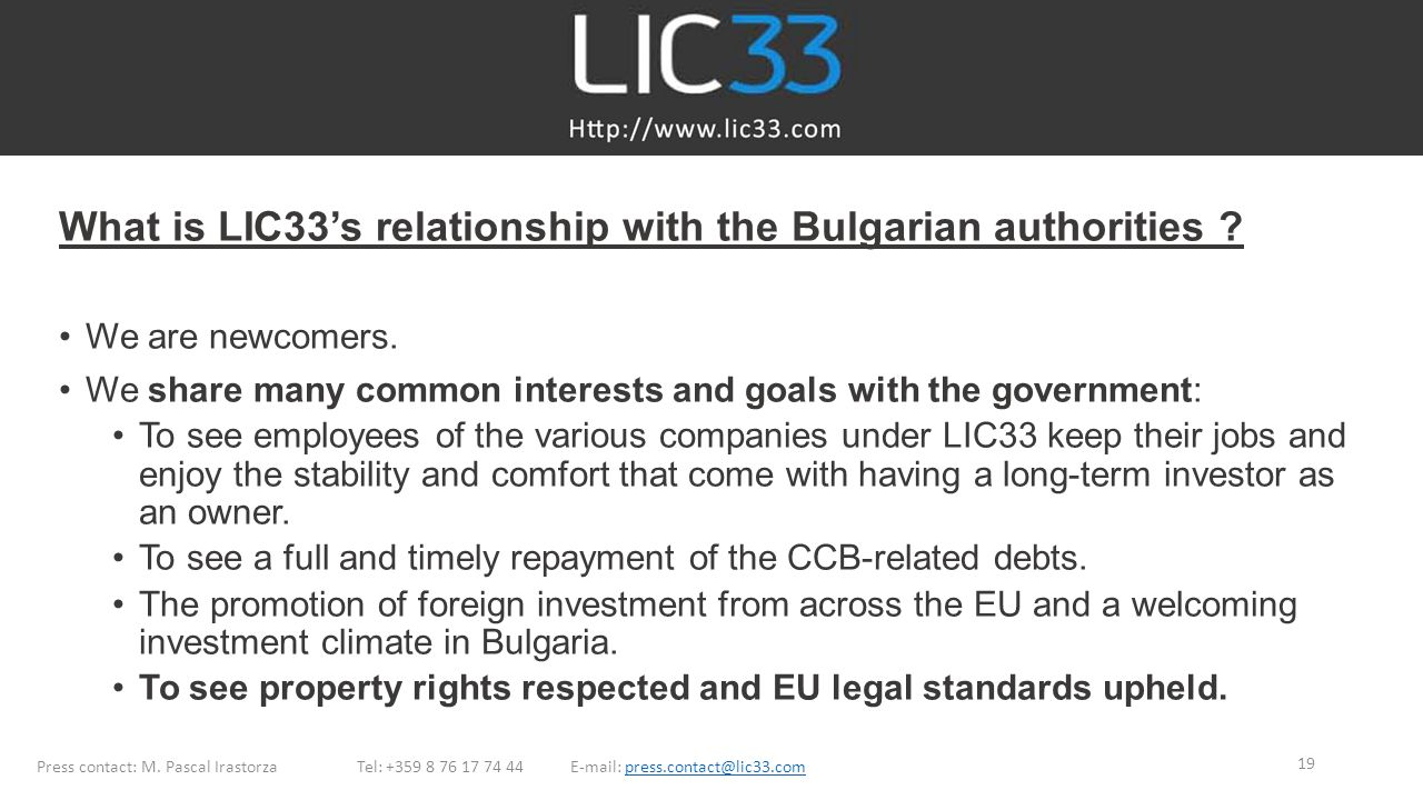 What is LIC33's relationship with the Bulgarian authorities