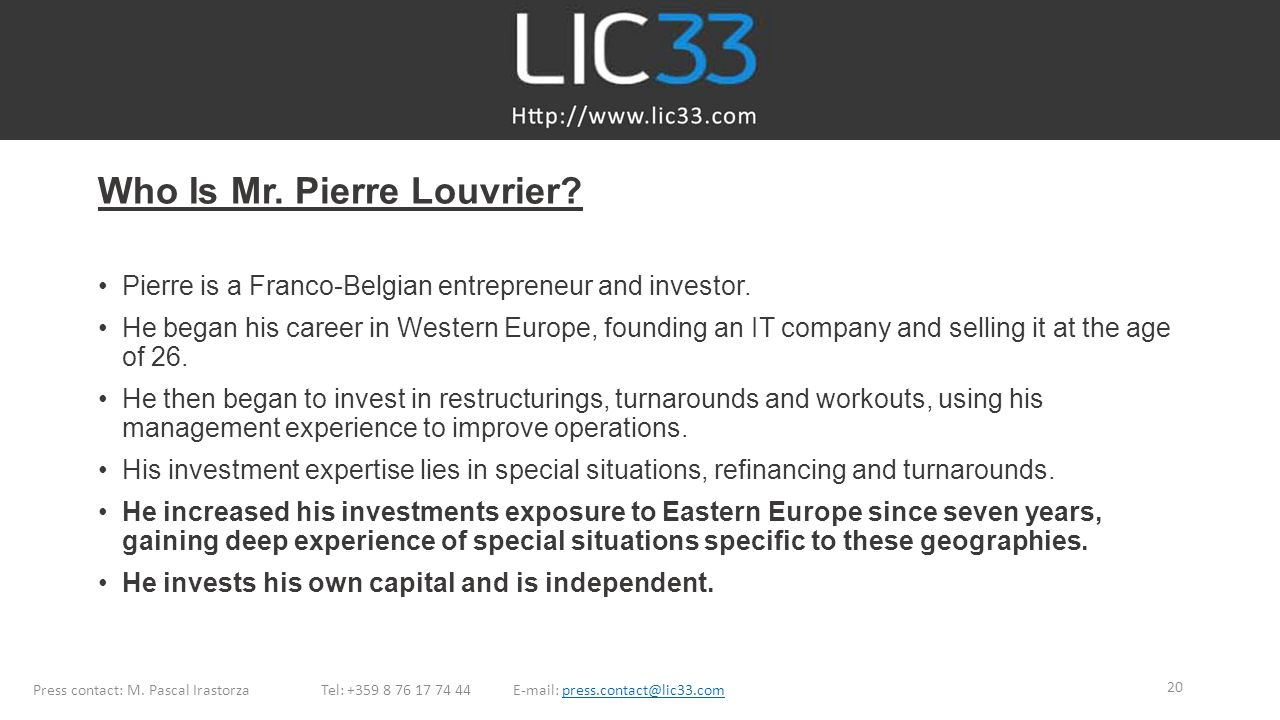 Who Is Mr. Pierre Louvrier