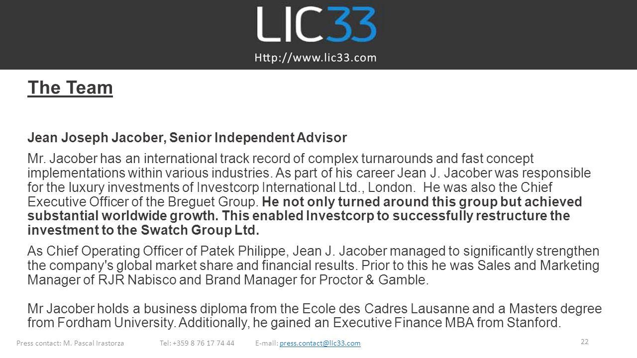 The Team Jean Joseph Jacober, Senior Independent Advisor