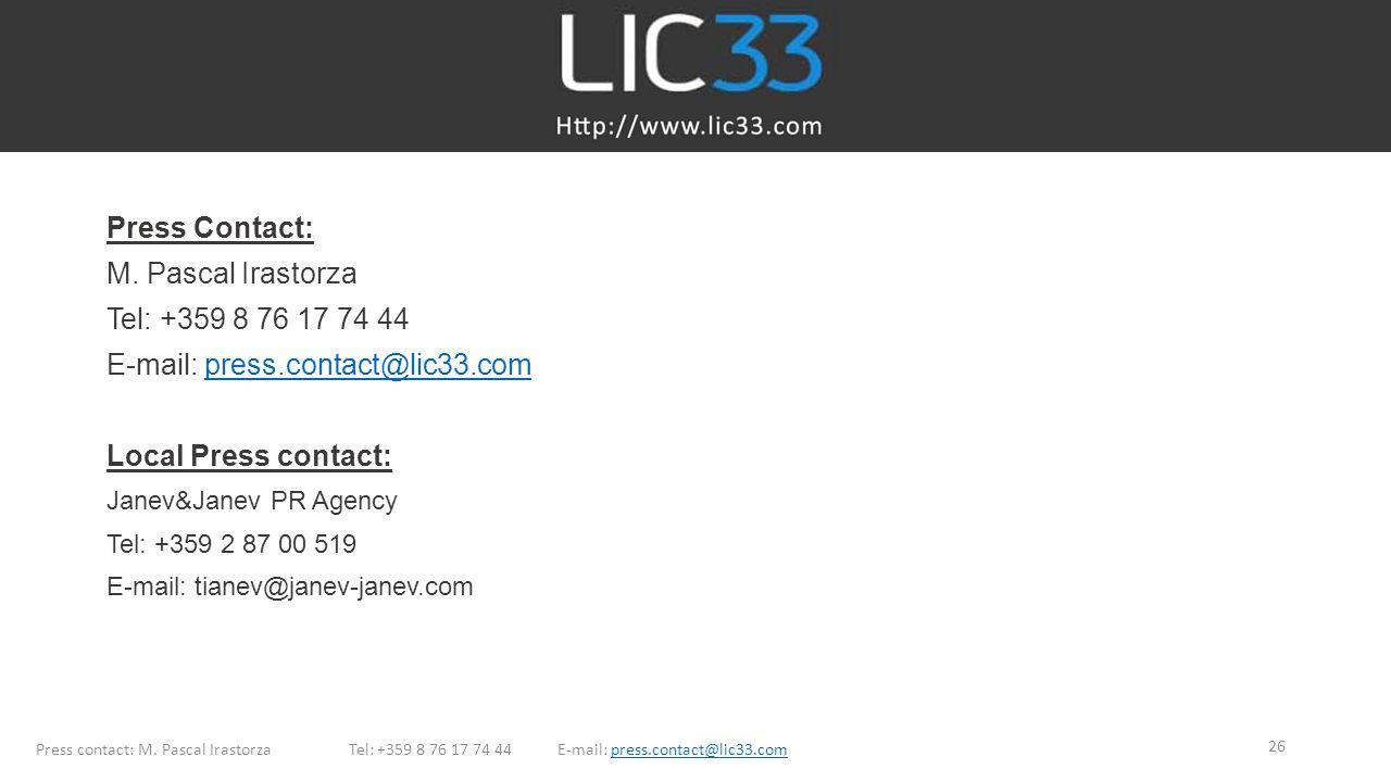 E-mail: press.contact@lic33.com