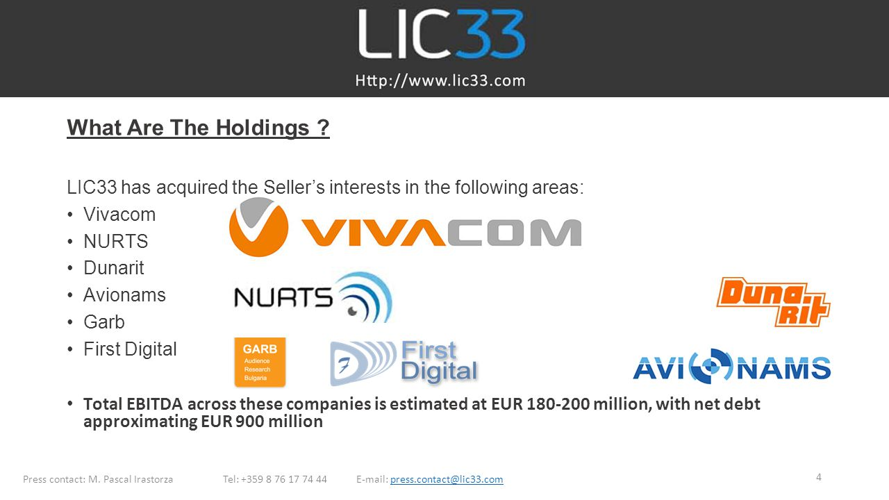 What Are The Holdings LIC33 has acquired the Seller's interests in the following areas: Vivacom.