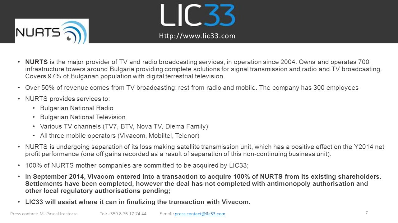NURTS provides services to: Bulgarian National Radio