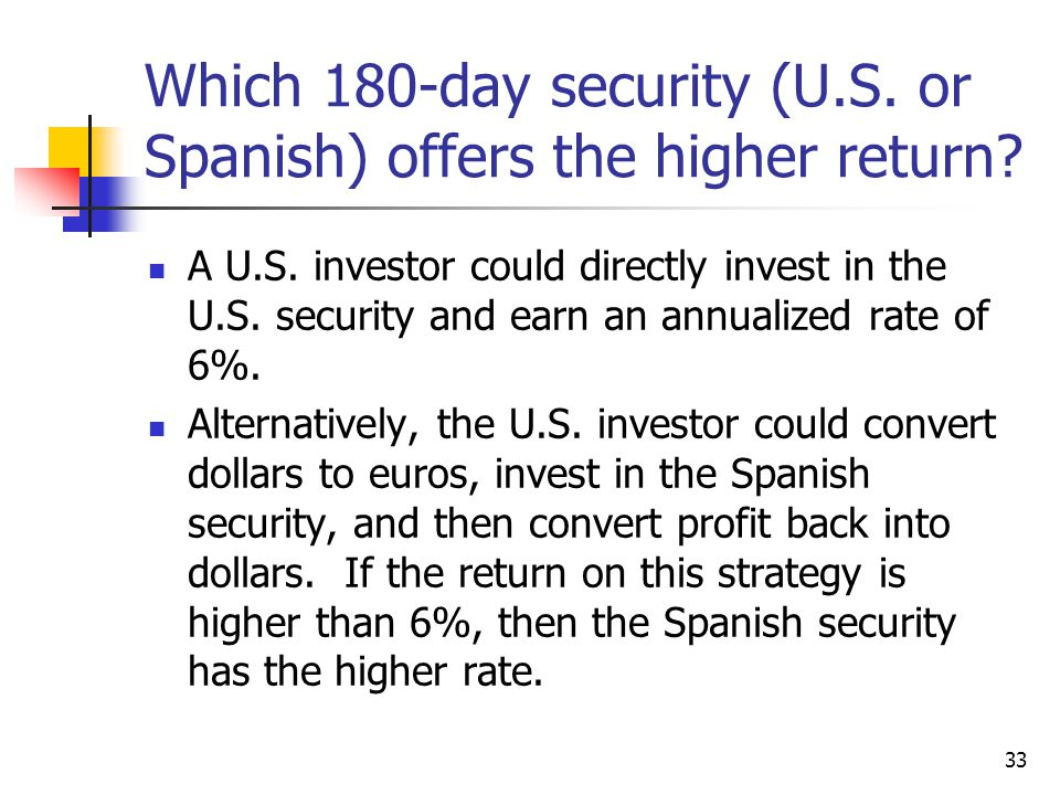 Which 180-day security (U.S. or Spanish) offers the higher return